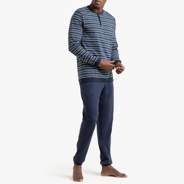 La Redoute Collections Mens Long-Sleeved Cotton Pyjamas with Tailored Collar