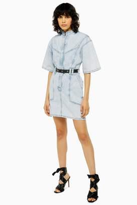 Topshop Womens Idol Acid Wash Short Sleeve Denim Dress - Bleach Stone