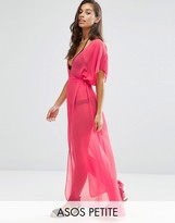 Asos Chiffon Maxi Beach Caftan with Self Belt