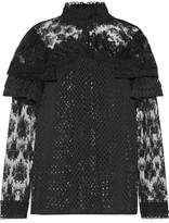 Anna Sui Ruffled Embroidered Lace Blouse - Black