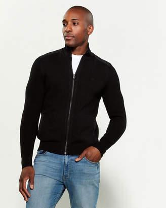 Calvin Klein Mixed Media Contrast Waffle Long Sleeve Zip-Up Sweater