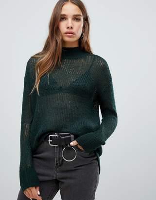 Noisy May high neck fine knit jumper-Green