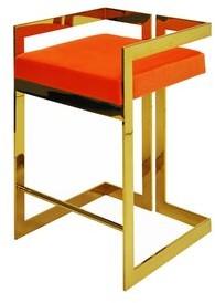 """Worlds Away Emmett 27"""" Bar Stool Color: Brass, Upholstery: Orange Velvet"""