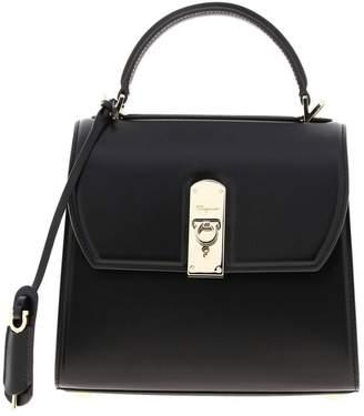 Salvatore Ferragamo Handbag Medium Boxyz Bag In Smooth Leather With Metal Padlock