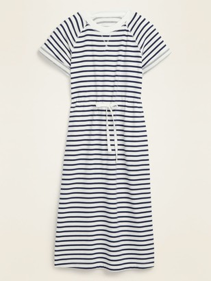 Old Navy Waist-Defined Striped French Terry Midi Dress for Women
