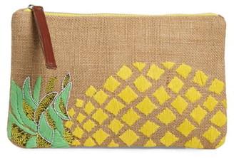 Sondra Roberts Embellished Pineapple Jute Clutch