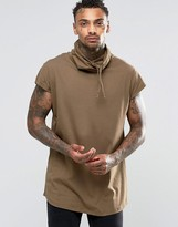 Asos Oversized Sleeveless T-Shirt With Funnel Neck And Curved Hem