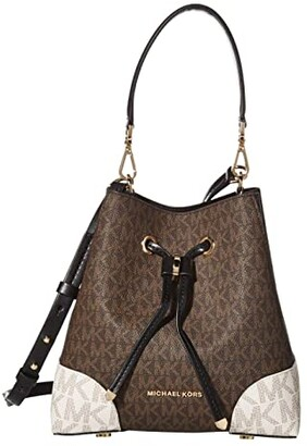 MICHAEL Michael Kors Mercer Gallery Small Convertible Bucket Shoulder (Brown Multi) Handbags
