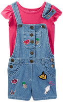 Betsey Johnson Flutter Sleeve Tee & Knit Denim Shortall with Patches (Toddler)