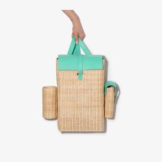 Natasha Zinko Green And Neutral Woven Straw Backpack