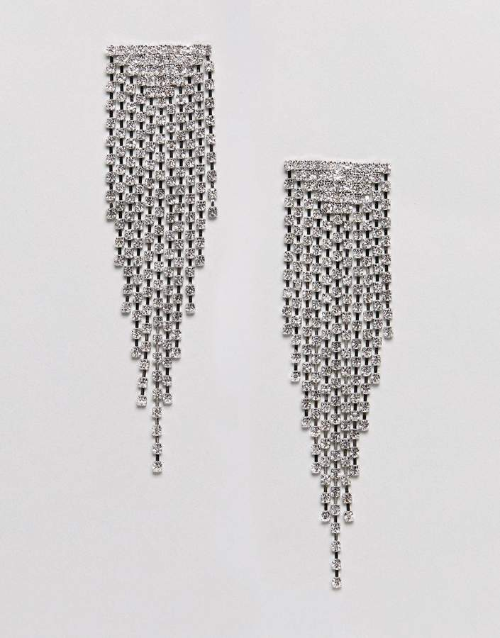 Asos Design DESIGN earrings with crystal drop design in silver