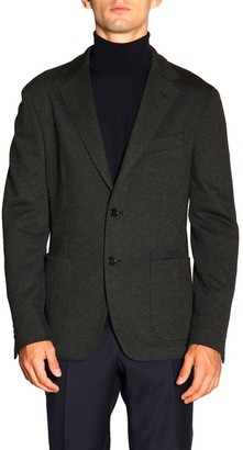 Fay Single-breasted Jacket With Two Buttons In Micro Squared Jersey
