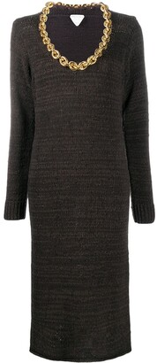 Bottega Veneta Chain Neckline Knitted Dress