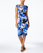 Connected Petite Floral-Print Faux-Wrap Dress