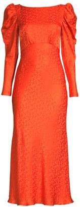 Saloni Alena Puff-Sleeve Silk Dress