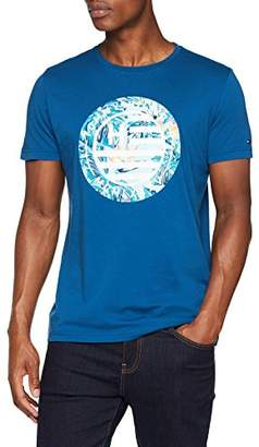 Tommy Hilfiger Men's Floral Logo Graphic Tee T-Shirt, Blue Opal 442, Medium