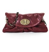 Carla Mancini Burgundy Shimmer Leather Clutch