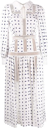Self-Portrait Geometric Dot-Print Shirtdress