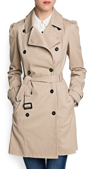 MANGO Outlet Puffed Shoulder Cotton Trench Coat