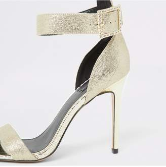River Island Wide Fit Sparkle Buckle Heel Sandal - Gold