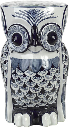 Pols Potten Blue Porcelain Flower Owl Stool