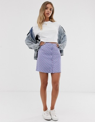 Daisy Street button through mini skirt in vintage ditsy floral-Purple