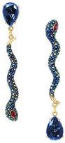 Betsey Johnson Pave Snake Mismatch Linear Earrings