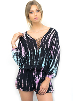 Vintage Havana Tie Dye Lace Up Bell Sleeve Romper in Multi Loli