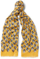 Gucci Fringed Printed Cotton, Modal And Cashmere-Blend Scarf