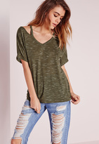 Missguided Strappy Neck T Shirt Khaki
