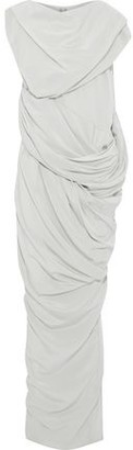 Rick Owens Branch Draped Silk Crepe De Chine Maxi Dress