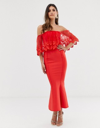 Forever U bardot midi bandage dress with crochet lace detail in red