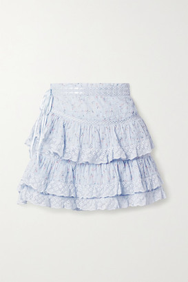 LoveShackFancy Bara Lace-trimmed Tiered Floral-print Cotton-voile Mini Skirt - Light blue