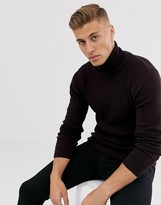 Brave Soul rib roll neck in 100% cotton in dark red