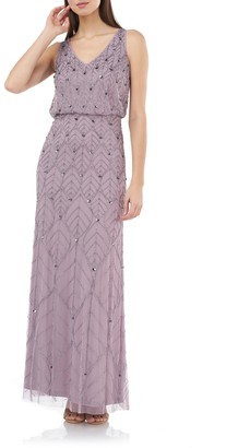 JS Collections Beaded Leaf Blouson Gown