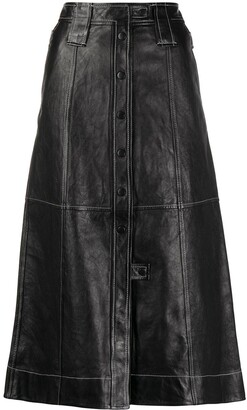 Ganni contrast-stitching A-line skirt