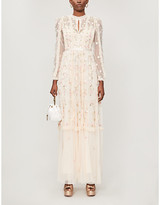 Wallflower floral-embroidered tulle maxi dress