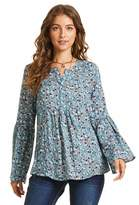 Sonja Betro SONJA BETRO Women's Long Bell Sleeve Floral Printed Babydoll Tunic Top/101DENIM Blue Print/Small