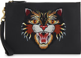 Gucci Dorian Angry Cat Leather Pouch