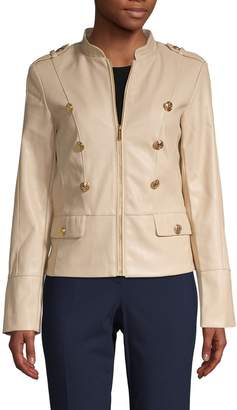 Calvin Klein Collection Buttoned Faux-Leather Jacket