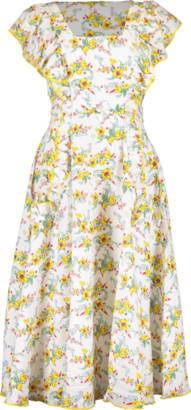 Gül Hürgel Ruffle Sleeve Daisy Print Midi Dress