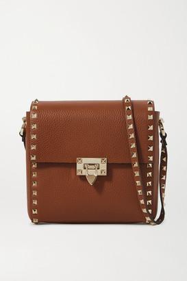 Valentino Garavani Rockstud Small Textured-leather Shoulder Bag - Brown