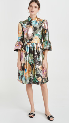 Marc Jacobs Brocade Dress with Flared Sleeve