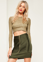 Missguided Khaki Ripple Texture Zip Through Mini Skirt