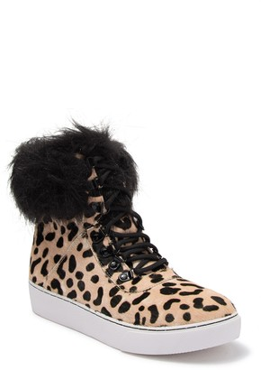 Linea Paolo Gigi Genuine Calf Hair & Faux Fur High Top Sneaker