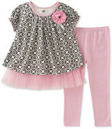 Kids Headquarters 2-Pc. Tulle-Trim Printed Tunic & Leggings Set, Baby Girls (0-24 months)