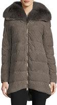 Herno Zip-Front Quilted Puffer Suede Coat w/ Fur Collar