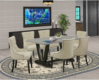 East West Furniture 5-Pc Dinette Set - 4 Upholstered Dining Chairs and 1 Breakfast Table with Button Tufted Chair Back