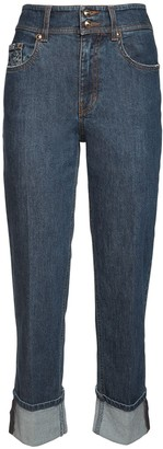 Versace Stretch Cotton Denim Straight Leg Jeans
