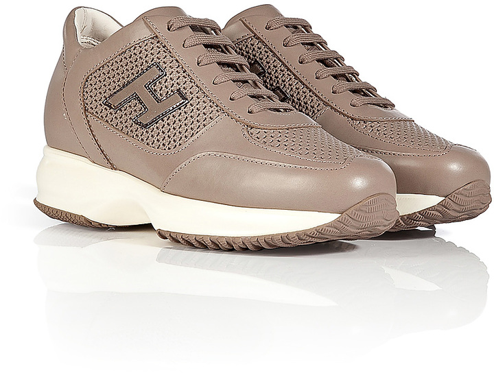 Hogan Leather Sneakers with Laser Cut Detailing